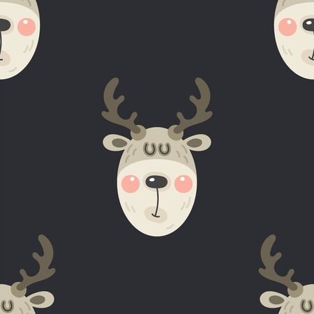 Festive background for new year or christmas. Seamless texture of the head of a deer. For wallpaper, pattern fills, web page, surface textures, textile print, wrapping paper - Vector Ilustração