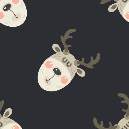 Festive background for new year or christmas. Seamless texture of the head of a deer. For wallpaper, pattern fills, web page, surface textures, textile print, wrapping paper - Vector  イラスト・ベクター素材