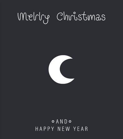 Merry christmas and happy new year greeting card. Cartoon christmas character. Cute nightly new years rosy moon. Vector illustration.  イラスト・ベクター素材