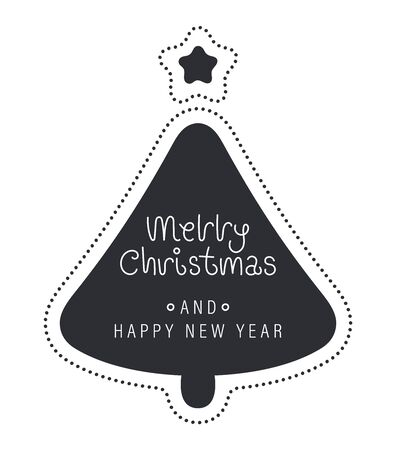 Merry christmas and happy new year greeting card. The inscription in the Christmas tree with a star and beads. Vector illustration.