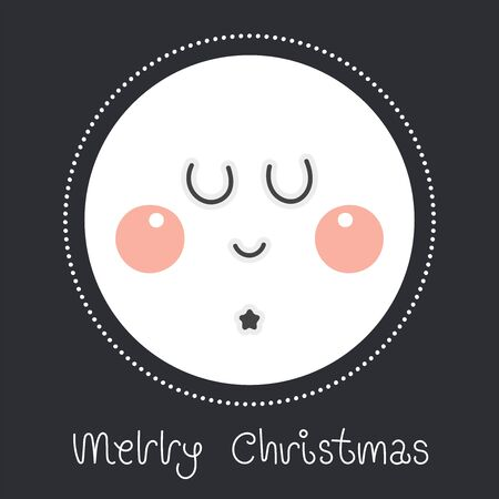 Merry christmas and happy new year greeting card. Cartoon christmas character. Cute nightly new year's rosy moon. Vector illustration.