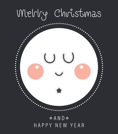 Merry christmas and happy new year greeting card. Cartoon christmas character. Cute nightly new years rosy moon. Vector illustration. Ilustração
