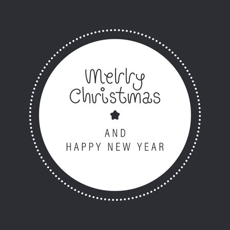 Merry christmas and happy new year greeting card. The inscription in a white circle with beads. Vector illustration.