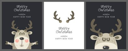 Merry christmas and happy new year greeting card. Cute christmas deer with horns and greeting lettering. Vector illustration.