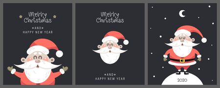 Merry christmas and happy new year greeting card. Festive inscription with cute Santa Claus and Christmas attributes. Vector illustration. Ilustração