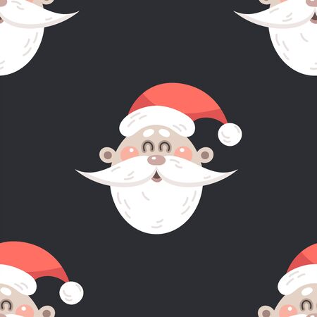 Festive background for new year or christmas. Seamless texture of a Santa Claus. For wallpaper, pattern fills, web page, surface textures, textile print, wrapping paper - Vector