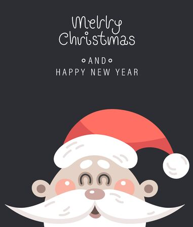 Merry christmas and happy new year greeting card. The inscription and santa claus head. Vector illustration.
