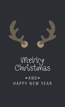 Merry christmas and happy new year greeting card. Festive inscription and large deer horns. Vector illustration. Ilustração