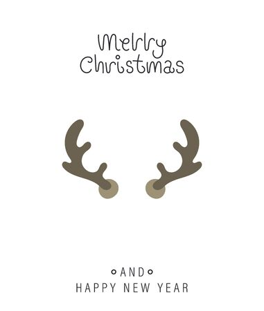 Merry christmas and happy new year greeting card. Festive inscription and large deer horns. Vector illustration.  イラスト・ベクター素材