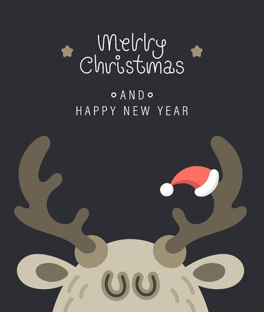 Merry christmas and happy new year greeting card. Festive inscription and large deer head. Vector illustration.