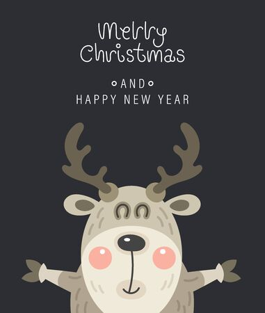 Merry christmas and happy new year greeting card. Festive inscription and rosy deer. Vector illustration.
