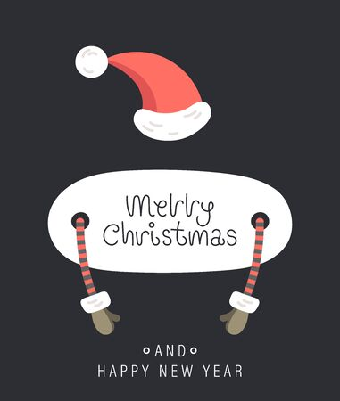 Merry christmas and happy new year greeting card. Festive inscription, hands in mittens and hat. Vector illustration.