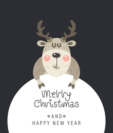 Merry christmas and happy new year greeting card. Festive inscription, snow and deer. Vector illustration.