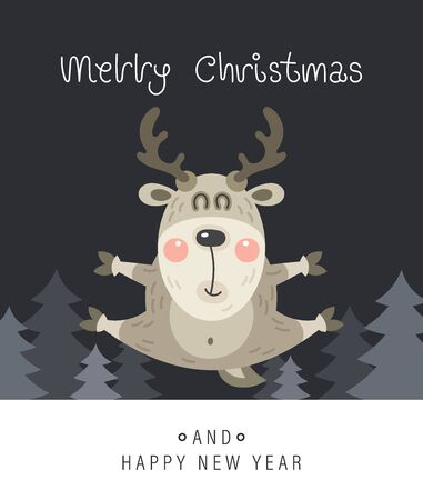 Merry christmas and happy new year greeting card. The inscription and deer in the forest. Vector illustration.