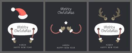 Merry christmas and happy new year greeting card. Festive inscription with Christmas attributes. Vector illustration.