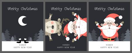 Merry christmas and happy new year greeting card. Festive inscription with cute Santa Claus and Deer. Vector illustration.