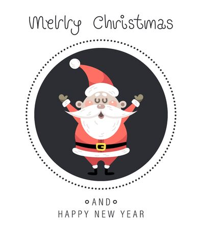 Merry christmas and happy new year greeting card. The inscription and santa claus. Vector illustration. Иллюстрация