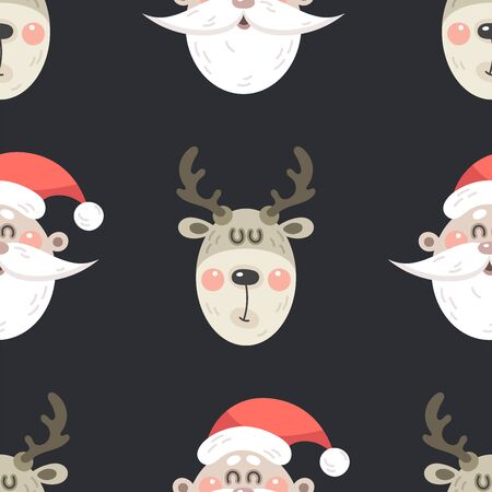 Festive background for new year or christmas. Seamless texture of a Santa Claus and deer. For wallpaper, pattern fills, web page, surface textures, textile print, wrapping paper - Vector