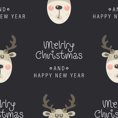 Festive background for new year or christmas. Seamless texture of the deer head and inscription. For wallpaper, pattern fills, web page, surface textures, textile print, wrapping paper - Vector