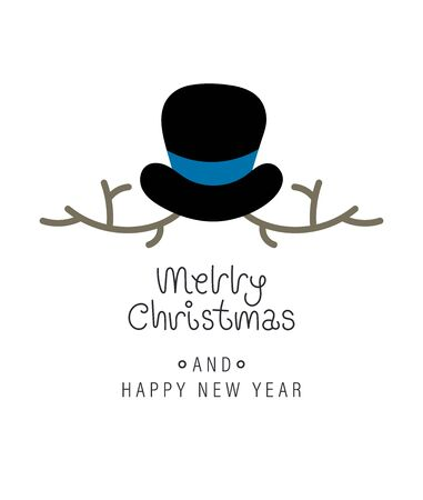 Merry christmas and happy new year greeting card. Festive inscription and snowman. Vector illustration. Ilustrace