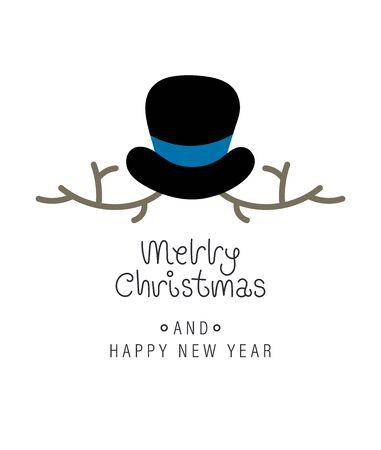 Merry christmas and happy new year greeting card. Festive inscription and snowman. Vector illustration. Illusztráció