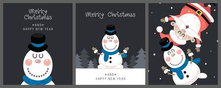 Merry christmas and happy new year greeting card. Cute christmas rosy snowman, santa claus and greeting lettering. Vector illustration.