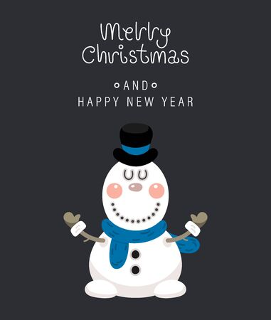 Merry christmas and happy new year greeting card. Festive inscription and snowman. Vector illustration. Ilustração