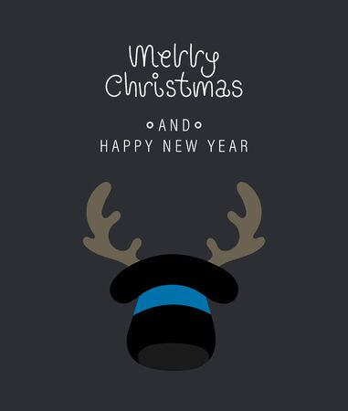 Merry christmas and happy new year greeting card. Festive inscription, hat and horns. Vector illustration. Ilustracja