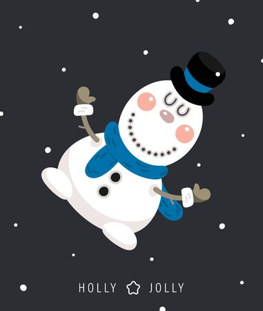 Merry christmas and happy new year greeting card. Festive inscription and snowman. Vector illustration. Ilustracja