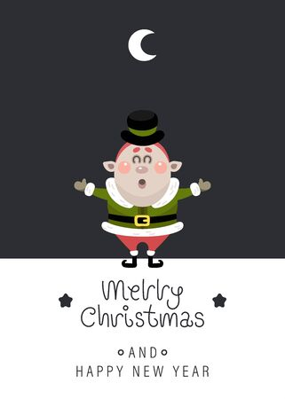 Merry christmas and happy new year greeting card. Cute christmas rosy elf, moon and greeting lettering. Vector illustration.
