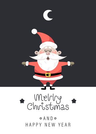 Merry christmas and happy new year greeting card. Cute christmas rosy santa claus, moon and greeting lettering. Vector illustration. 일러스트