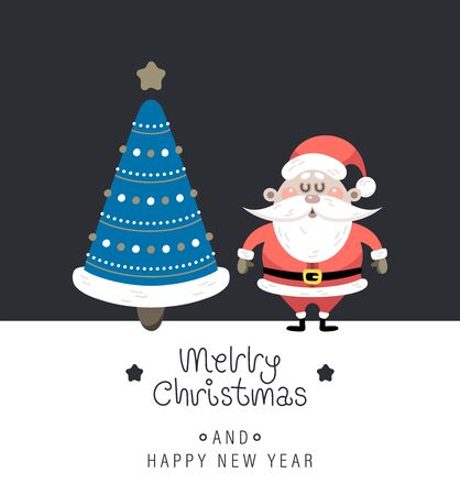 Merry christmas and happy new year greeting card. Cute christmas rosy santa claus, christmas tree and greeting lettering. Vector illustration.