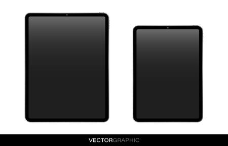 Template of realistic electronic tablets with off screen. Modern gadgets isolated on white background. Device layout. Vector illustration. Illustration