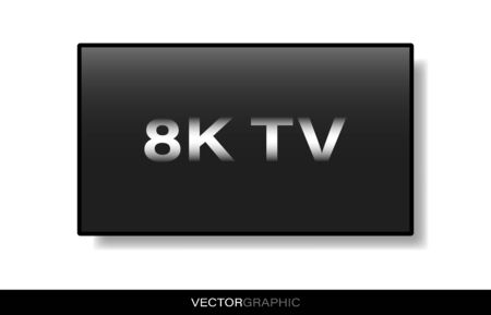 Realistic electronic device template. Modern gadget isolated on white background. Hanging TV with off screen and with shadow on the wall. Vector illustration.  イラスト・ベクター素材