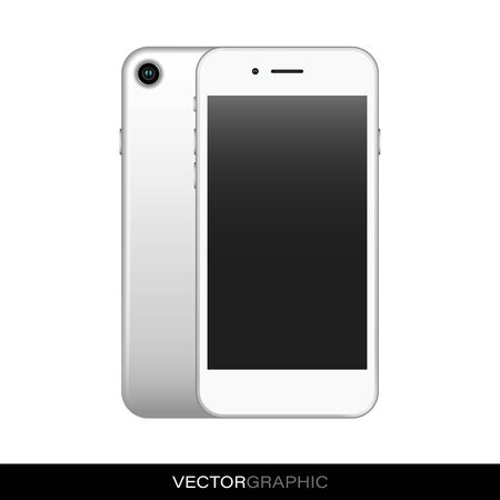 Template of realistic smart phone with off screen. Modern gadgets isolated on white background. Device layout. Vector illustration.