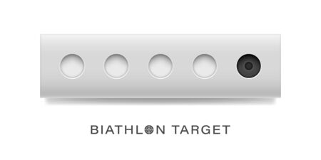 The winter sports attribute is the biathlon target. Set of open and closed targets. Vector illustration.
