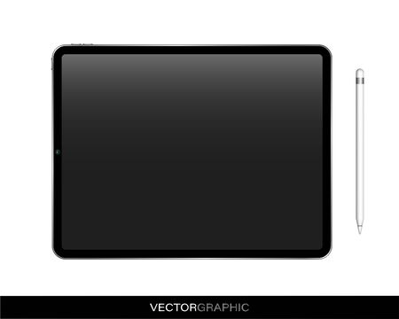 Realistic electronic device templates. Modern gadgets isolated on white background. Electronic tablet with pencil. Vector illustration.