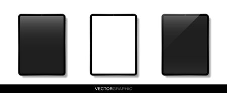 Template of realistic electronic tablets with off and white blank screen. Modern gadgets isolated on white background. Device layout. Vector illustration.