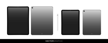 Template of realistic electronic tablets with off screen. Modern gadgets isolated on white background. Device layout. Vector illustration. 일러스트