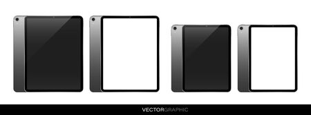 Template of realistic electronic tablets with off and white blank screen screen. Modern gadgets isolated on white background. Device layout. Vector illustration.
