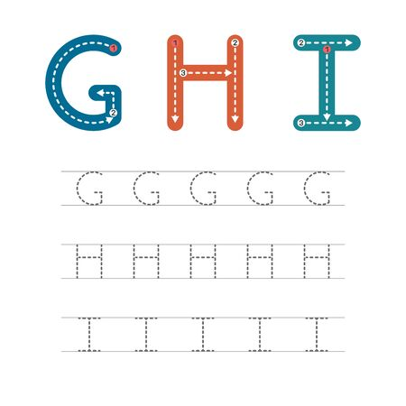 Learning to write a letter - G,H,I. A practical sheet from a set of exercises for the development and education of children. Writing a letter from the English alphabet. Vector illustration. Ilustração