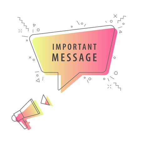Megaphone with important message speech bubble. Loudspeaker. Banner for business, marketing and advertising. Vector illustration.