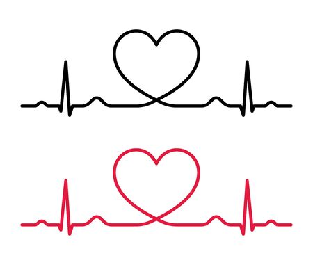 Heart beat line red and black. Red heartbeat line of life and black heartbeat line of death. Red and black heart with palpitation. Vector illustration