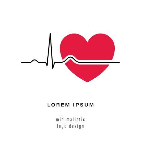 Heartbeat-Linie mit Herz rot. Herzschlaglinie schwarzes Symbol mit rotem Herzen in linearem Design, isoliert auf weißem Hintergrund. Pulsspur im modernen flachen Stil. Vektor-Illustration Vektorgrafik