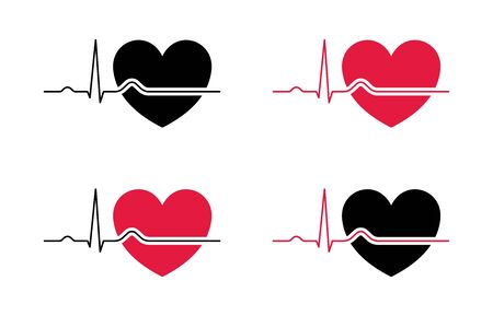 Heart beat line red and black. Red heartbeat line of life and black heartbeat line of death. Red and black heart with palpitation. Vector illustration Çizim