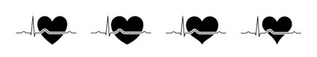 Heart beat line red and black. Red heartbeat line of life and black heartbeat line of death. Red and black heart with palpitation. Vector illustration Illustration