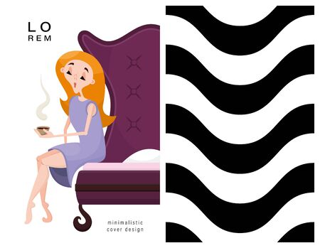 Set of cards. Woman and geometric pattern. Applicable for magazine covers, outdoor prints, ads and prints in the beauty industry.