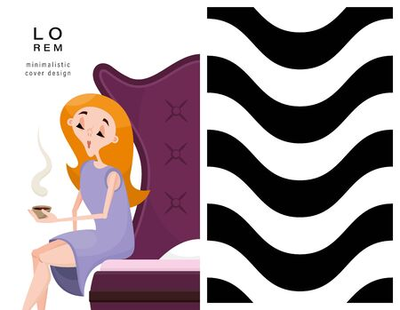 Set of cards. Woman and geometric pattern. Applicable for magazine covers, outdoor prints, ads and prints in the beauty industry. Vetores