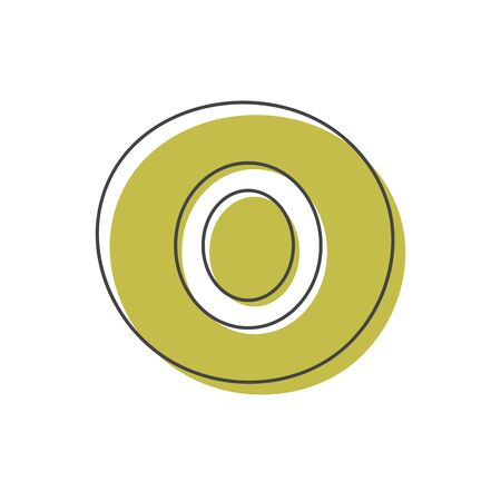 Background with a number in a colored circle isolated on a white background. Card from a set for children's development and education. Vector illustration.