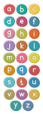 English alphabet from small letters. Card from a set for children's development and education. Vector illustration.